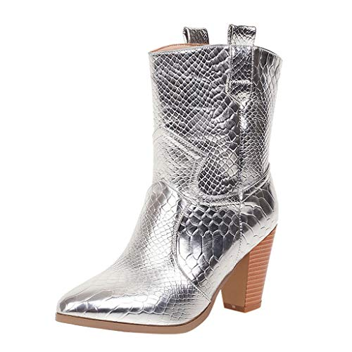 MOTOCO Women's Boots Thick High Heel Pointed Slip-On Casual Embroidered Rodeo Cowboy Boots Snake Pattern Martin Boots (4 UK,Silver)