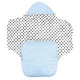 TupTam Baby Winter Fußsack Einschlagdecke für Babyschale, Farbe: Minky Himmelblau/Sternchen Dunkelblau