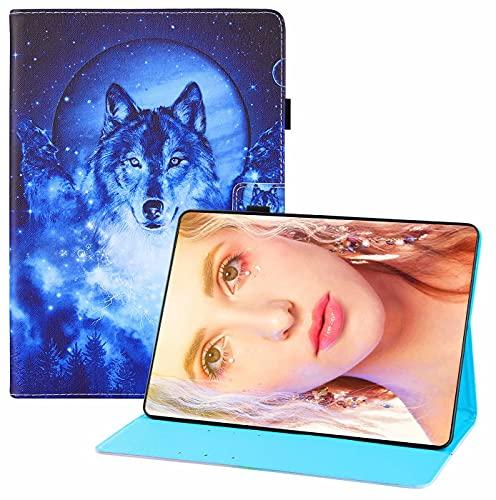 CRABOT Funda para Samsung Galaxy Tad S7Plus T970/T975,Cuero PU Cartera Estilo de Libro Carcasa Función de Soporte,Patrón Animal con Auto-Sueño/Estela Funda para Samsung Galaxy Tad S7 Plus-Lobo