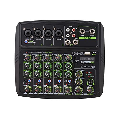 Mengpaneel 6-kanaals audiomixer mengconsole LED-scherm ingebouwde geluidskaart USB BT-verbinding met 2-bands EQ Gain…