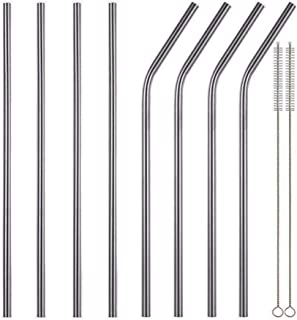 Set of 10 Stainless Steel Straws FDA-Approved extra Long 10.5'' Drinking Metal Straws For 30oz Stainless Tumblers Ramblers...