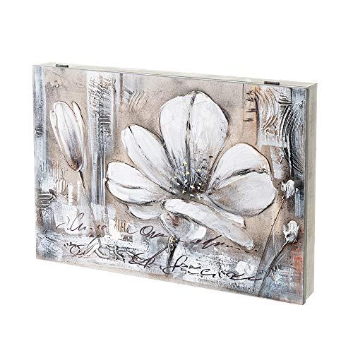 Cuadro cubrecontador Pintado en Lienzo con Flores Blanco y Beige para Cajas eléctricas de 46x31 cm - LOLAhome