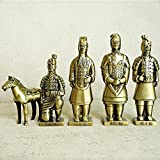COJJ Decoraciones de Escritorio, Decoraciones, Qin Shihuang Terracotta Warriors and Horses Set Decoraciones, Metal, Regalos, Souvenirs
