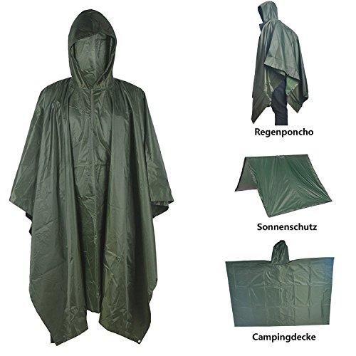 Limirror Wasser- und Winddicht Regenponcho, 3-in-1 Campingdecke zum Camping Wandern Outdoor Sport für Damen und Herren (Grün)