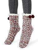 MaaMgic Femme Fille Christmas Noël Chaussettes Slipper Antidérapantes d'hiver Chaud en Polair Douce Chaussons Douillets Pantoufles Motif Géométrique - Bourgogne - Taille unique