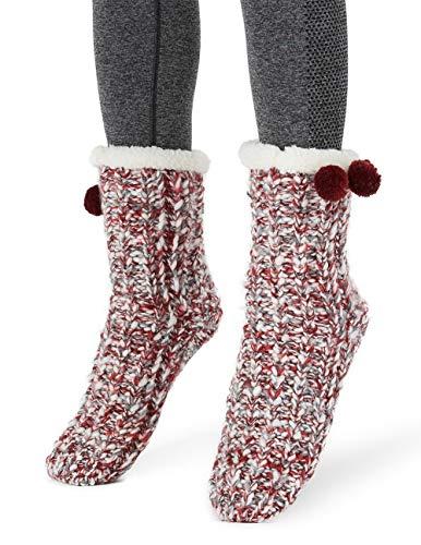 MaaMgic - Calcetines Pantuflas Antideslizantes de Invierno para Mujer Calcetines de Casa Cálidos con Forro Polar Divertidos para Navidad,3-Vino