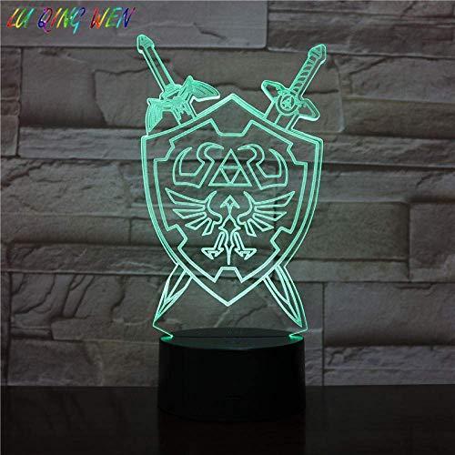 Luz De Ilusión 3D, Luz De Noche Led, Juego De Niño, Espada Con Escudo Zelda, Decoración De Dormitorio Para Niños, HabitaciónPara Niños, Regalos DeCumpleañosPara Niños
