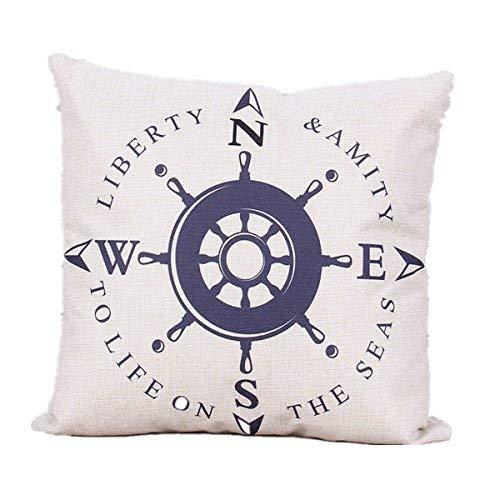 Bee Biodawn Cotton Square Decorative Sailing Compass Pillow Case Cushion Cover Copricuscini e federe (60cmx60cm)