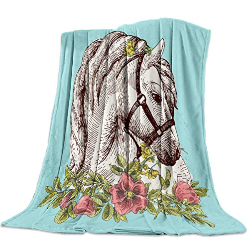Fleece Blanket Throw Size Animal Boho Horse Poppy Wreath Equestrian Lightweight Super Soft Cozy Luxury Bed Blanket Microfiber for All Season Bed Couch Sofa 40 x 50 Inch