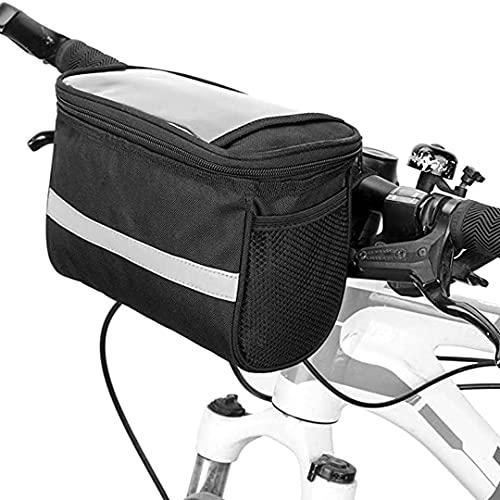 FSCLJ Bolsa de Manillar de Bicicleta Bolsa Delantera de Bicicleta MTB Impermeable Bolsa de Almacenamiento de Tubo Superior Frontal de Ciclismo Multifuncional Bolsa Transparente para teléfono móvil