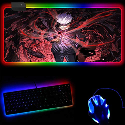 Gaming Mouse Pads Jujutsu Kaisen Anime Gaming Mouse Pad RGB with USB Wired Glowing Led Illuminated Large Mousepads Desk Mat (A) 40x90x0.4cm