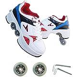 ローラーシューズ2-in-1多目的4ホイール調整可能なクワッドローラーブーツスケートパーティー大人に適しています roller skates 1125 (Size : 43)
