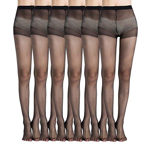 MANZI Damen 6 Paare Classic Strumpfhose mit Comfort Stretch 20 Denier,Schwarz,Beige