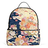 CPYang Sac à Dos d'école, Style décontracté avec Fleurs et Feuilles d'érable Japonais