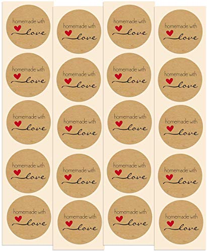 Homemade with Love Stickers   50 Pack   1.5  Inch Round Natural Kraft - Perfect for Baked Goods, Canned Goods, Jam, Jelly, Candles, Soap, Home Made Products