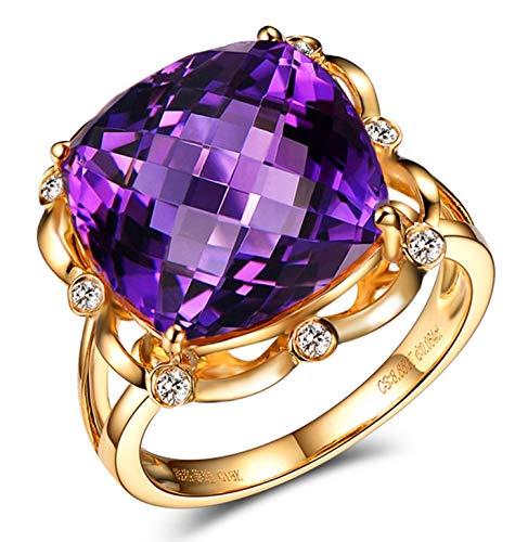 KnSam Joyas-Eres Muy Importante para Mí&Anillo de Boda de Oro 18 Kilate Anillo de Diamante 10CT de 18K de Oro Anillo de Oro de la Talla de 15