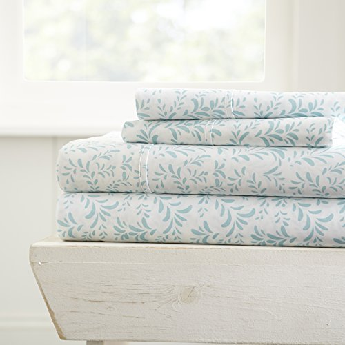 Linen Market 4 Piece Sheet Set Patterned, Full, Burst of Vines Light Blue