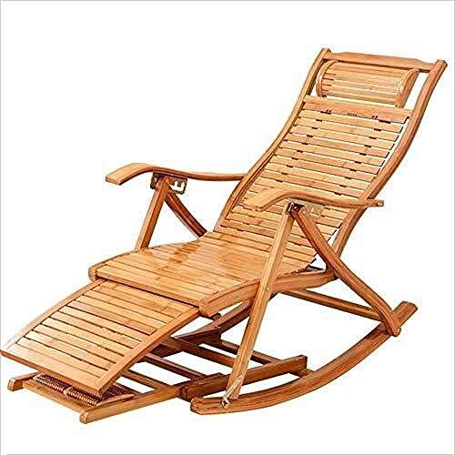 Sillas Plegables de jardín Silla de Mecedora de Madera de bambú portátil Cabello para la Hora del...