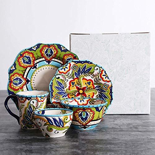 LIZANAN Juego de platos de cocina creativos occidentales pintados a mano con plato de cerámica de cerámica para platos de carne, ensalada de cereales, cuenco para fiestas, regalos