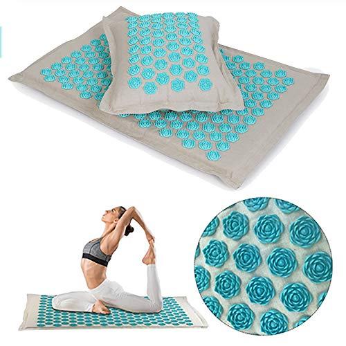 QIYU Akupunktur Matte Für Massage, Akupressur-Matte Und Kissen, Erleichterung von Kopf-Nackenschmerzen und Muskelverspannungen und Linderung von Rückenschmerzen, für Massage Yoga