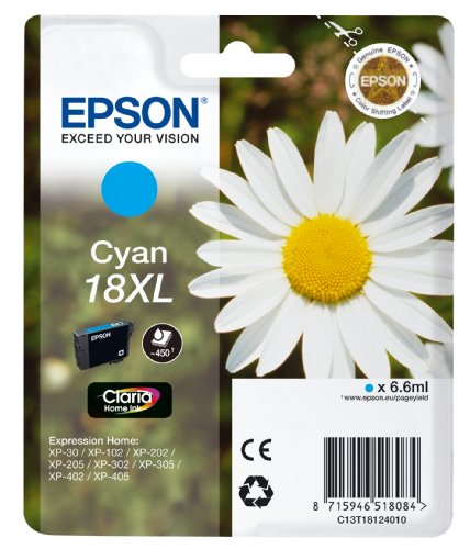 Epson Orginal 18XL Tinte Gänseblümchen, XP-305 XP-402 XP-215 XP-312 XP-315 XP-412 XP-415 XP-225 XP-322 XP-325 XP-422 XP-425, Normalverpackung, XL, (cyan)