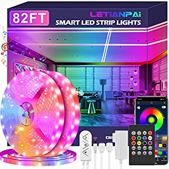 Led Strip Lights 82ft/25m Long Smart Led Light Strips Music Sync 5050 RGB Color Changing Rope Lights,Bluetooth APP/IR Remote/Switch Box Control Led Lights for Bedroom,Home Decoration,Party,Festival