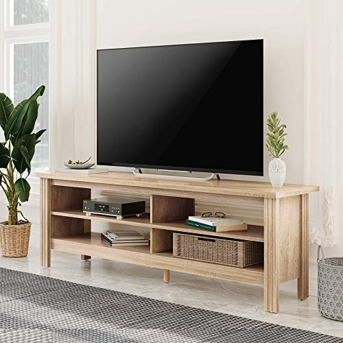 FITUEYES TV Stand for 65 inch TV Entertainment Center Wood TV Console Table Media Cabinet with Storage for Living Room Bedroom, 60 inch White Oak