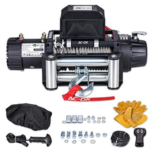 AC-DK 4500 lb ATV/&UTV electric Winch 12V with Steel Cable Winch Towing Truck 4WD