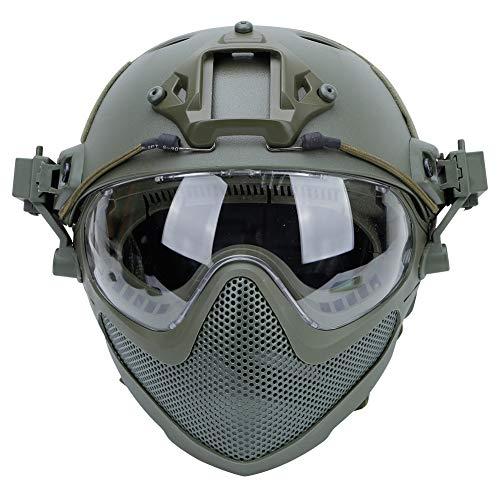 Pilot PJ Fast Helmet F22, casco protector de cara completa con máscara desmontable y gafas, utilizado para deportes al aire libre como juegos CS