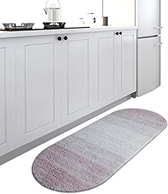 Floor Rug Carpet Household Gradual Change Oval Polyester Carpet,Simple and Modern Style,Bedroom Bathroom Kitchen Door Mat, Absorbent Non-Slip,Machine Washable, 45 * 120cm (Color : A)