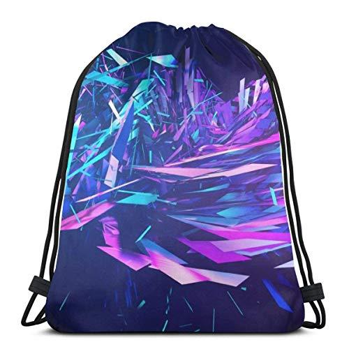 XCNGG Black Unisex Lightweight Folding Drawstring Bag Yoga Gym Sports Storage Travel Cool Backpack