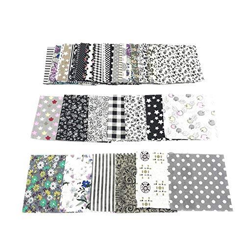 YUnnuopromi 50 piezas de tela de algodón floral de 10 x 10 cm, para costura y colchas, cuadrados, para manualidades, álbumes de recortes, acolchado, patrón de puntos, color gris