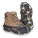 Deyard Traction Cleats Ice Snow Grips Unisex Antideslizantes Crampones Zapatos con 19 Puntas para Caminar, Trotar, Escalar y Caminar sobre Nieve y Hielo