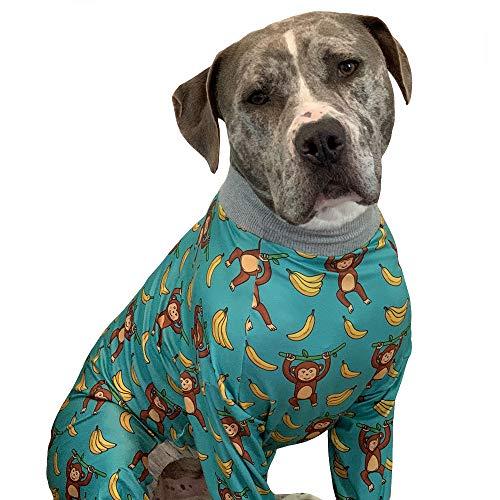 Zahn und Honig Pitbull Pyjama/Monkey Banana Print Hund Onsie/Leichter Pullover Pajamas/Full Coverage Dog Pjs (Medium)