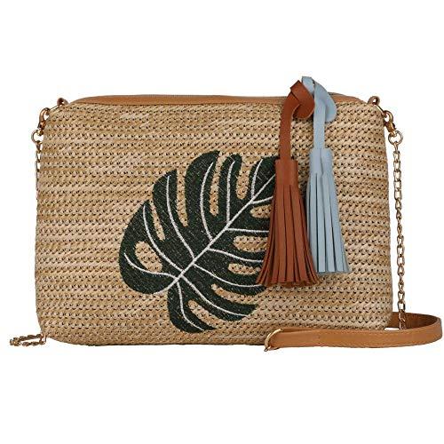 Bolso de mano de paja para mujer, bolsa cruzada de paja para verano, playa, bolsa de hombro, Verde (Leaf), Talla única