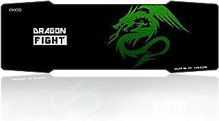 Alfombrilla para ratón extralarga EXCO para juegos, 89 x 30,5cm, 5mm de grosor, tamaño grande, con superficie lisa y desplazamiento preciso (negro), color Green Dragon