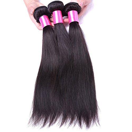 Extension de cheveux humains brésiliens vierges lisse et soyeux, Lot de 3, 100 g/Paquet, 6 une trame de couleur naturelle (20 22 24)