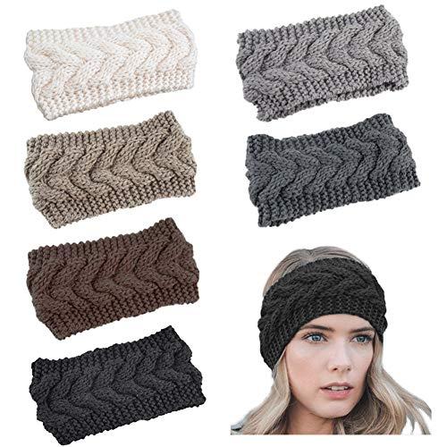 VEGCOO 6 Pcs Winter Knit Headbands Women Knitted Headband Trendy Chunky Knit Headbands Thermal Head Wraps Elastic Turban Winter Ear Warmer