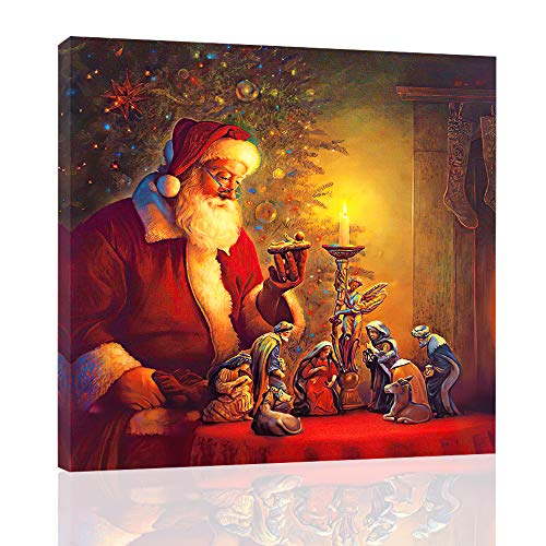 Induction LED Light Painting Santa Claus Christmas Gifts Wall Art Print Picture Canvas for Home Decoration Canvas