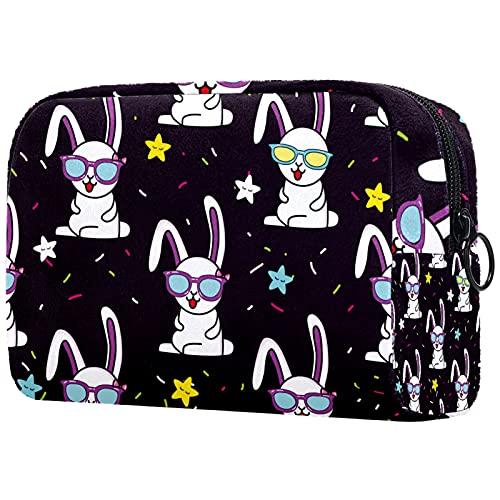Yitian Divertido conejo gafas estrellas patrón bolsa cosmética para mujeres, adorables bolsas de maquillaje espaciosas bolsa de aseo de viaje