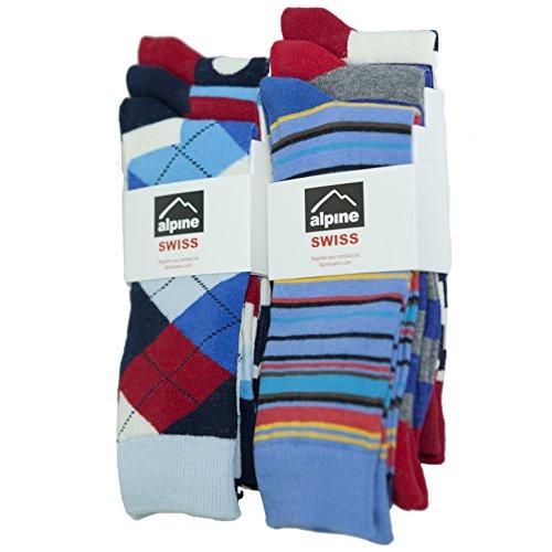 Alpine Swiss Men's Cotton 6 Pack Dress Socks Striped & Argyle Bright Color Pack