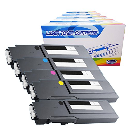 Inktoneram Compatible Toner Cartridges Replacement for Dell C3760n C3760dn C3765dnf W8D60 1M4KP XKGFP MD8G4 Extra High Yield ([2-Black,Cyan,Magenta,Yellow], 5-Pack)