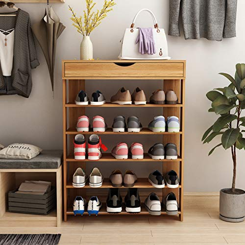 sogesfurniture 29.5 inches Shoe Rack 5 Tier Free Standing Wooden Shoe Storage Shelf Shoe Organizer,Teak BHCA-L24-TK-NEW