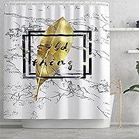 滑り止めの敷物、浴室の装飾のためのトイレの蓋のカバーとバスマットのフック付きの防水ファブリックバスルームカーテン H-Shower curtain