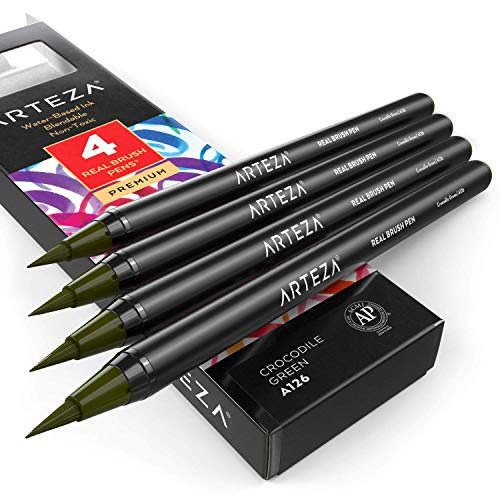 Arteza Real Brush Pens, A126 Crocodile Green, Pack of 4, Watercolor Pens with Nylon Brush Tips, Art Supplies for Dry-Brush Painting, Sketching, Coloring & Calligraphy