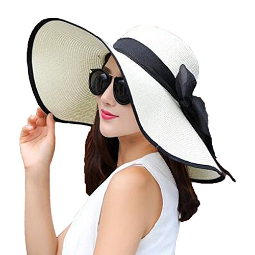 YSHARE Women Big Bowknot Straw Sun Hat Floppy Foldable Roll up UV...