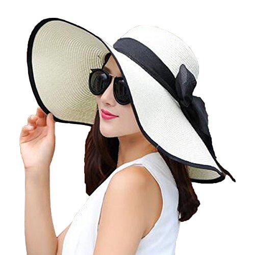 YSHARE Women Big Bowknot Straw Sun Hat Floppy Foldable Roll up UV...