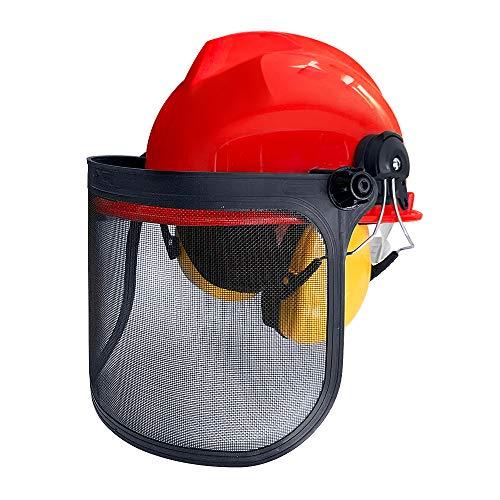 Aufun Forstschutzhelm Oranger Kopfschutz mit Stoß- und Kratzfester ABS – Helm und Kapselgehörschützer Schutzhelme NRR-Wert: 24 dB für Mähen, Schleifen, Bergbau