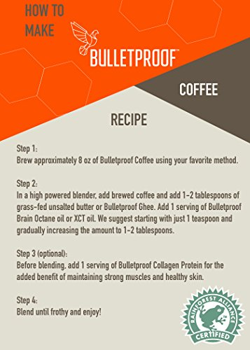 Bulletproof The Original Whole Bean Coffee, Premium Medium Roast Gourmet Organic Beans, Rainforest-Alliance, Perfect for Keto, Upgraded Clean Coffee (12 Ounces)
