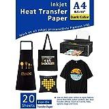 20 Papiers Transferts T shirt/Papier Transfert Thermique/Transfer Jet d'encre papier pour tissus foncés et noirs A4